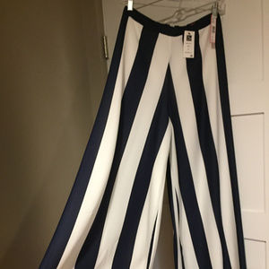 High waisted wide leg blue and white striped pants